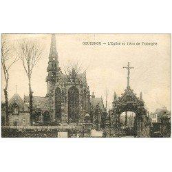 carte postale ancienne 22 GOUESNOU. Eglise et Arc de Triomphe 1929