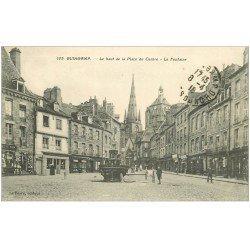 carte postale ancienne 22 GUINGAMP. Le Haut de la Place du Centre Fontaine 1918
