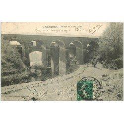 carte postale ancienne 22 GUINGAMP. Viaduc de Sainte-Croix 1914 sous la neige