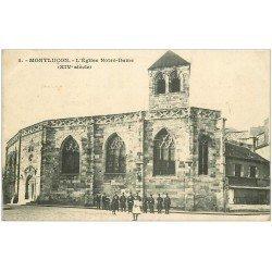 carte postale ancienne 03 MONTLUCON. Eglise Notre-Dame. Fillette et Militaires