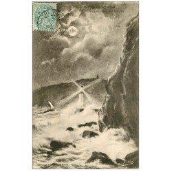 carte postale ancienne 22 LE LEGUE. Le Phare par Tempête 1906