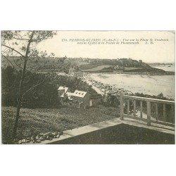 carte postale ancienne 22 PERROS-GUIREC. Plage Trestraou et Pointe de Ploumanach 1927