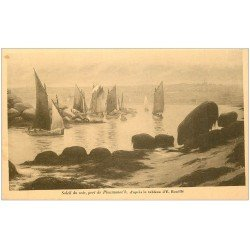 carte postale ancienne 22 PLOUMANACH. Soleil du soir sur le Port par Bouillé