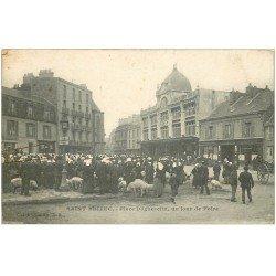 carte postale ancienne 22 SAINT-BRIEUC. Jour de Foire Place Dugesclin 1919 avec Cochons et Porcs. Bazar Parisien