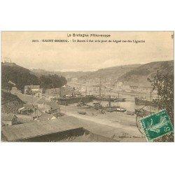 carte postale ancienne 22 SAINT-BRIEUC. Le Bassin à flot et le Port du Légué vus des Ligneries 1911