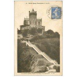 carte postale ancienne 22 SAINT-QUAY-PORTRIEUX. Escalier Plage de la Comtesse 1933