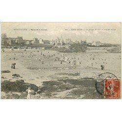 carte postale ancienne 22 SAINT-QUAY-PORTRIEUX. La Plage et bain 1912
