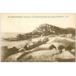 carte postale ancienne 22 TREBEURDEN. Castel et cabines Plage de Tresmeur