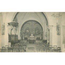 carte postale ancienne 77 AVON. FONTAINEBLEAU. L'Eglise intérieur