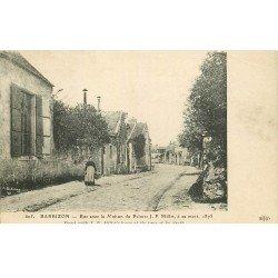 carte postale ancienne 77 BARBIZON. Rue avec Maison du Peintre Millet 1913