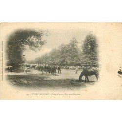 carte postale ancienne 77 FONTAINEBLEAU. Camp d'Avon 1906 Parc aux Chevaux. Militaires et Campement