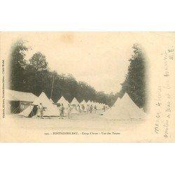 carte postale ancienne 77 FONTAINEBLEAU. Camp d'Avon 1902 vue des Tentes. Militaires et Campement