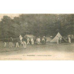 carte postale ancienne 77 FONTAINEBLEAU. Camp d'Avon intérieur. Militaires et Campement