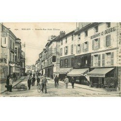 carte postale ancienne 77 MELUN. Grande Rue Saint-Etienne. Restaurant Noël, Félix Potin, Horlogerie Wagner...