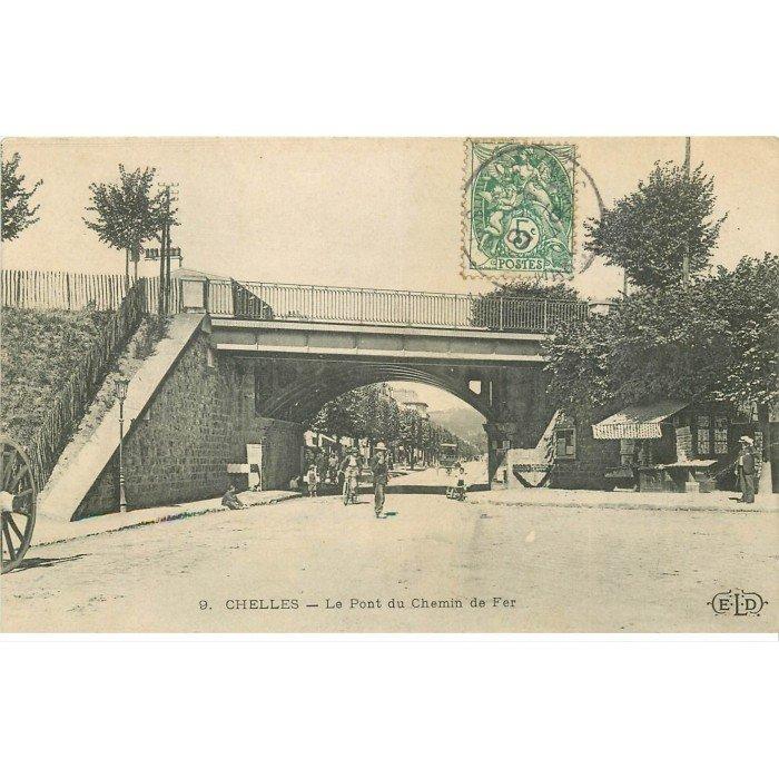 77 chelles pont du chemin de fer boulevard de la gare kiosque journaux et cartes postales 1907. Black Bedroom Furniture Sets. Home Design Ideas