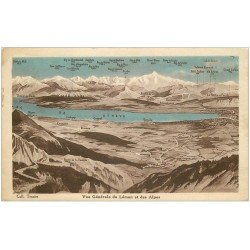 carte postale ancienne 01 Le Léman et les Alpes. Collection Tesnier