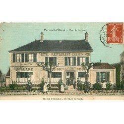 77 VERNEUIL L'ETANG. Hôtel Fichet Baron Place de la Gare Restaurant du Chemin de Fer. Carte toilée. Billard et Ecuries