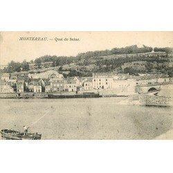 carte postale ancienne 77 MONTEREAU. Quai de Seine 1908 embarcation
