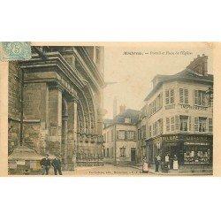 carte postale ancienne 77 MONTEREAU. Portail Place de l'Eglise Librairie Imprimerie 1905
