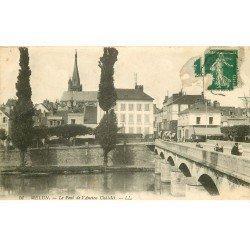 carte postale ancienne 77 MELUN. Pont Ancien Châtelet 1913