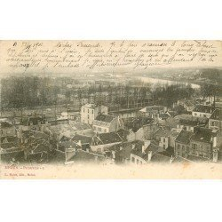 carte postale ancienne 77 MELUN. Panorama 1902. Pli coin et timbre absent