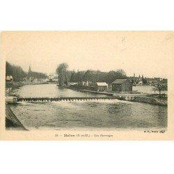 carte postale ancienne 77 MELUN. Les Barrages