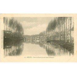 carte postale ancienne 77 MELUN. Le Pont de Pierre vers 1900