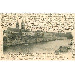 carte postale ancienne 77 MELUN. Maison Centrale et Tours Notre-Dame 1903