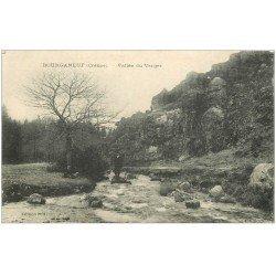 carte postale ancienne 23 BOURGANEUF. 1919 Vallée du Verger avec personnages