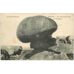 carte postale ancienne 23 BOUSSAC. Aux Pierres Jaumathres. Le Champignon et Moutons 1913