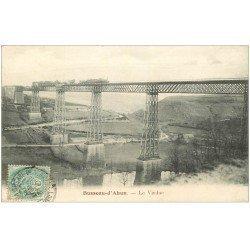 carte postale ancienne 23 BUSSEAU-D'AHUN. Train sur le Viaduc 1906