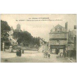 carte postale ancienne 23 GUERET. Mercerie Bonneterie Place de la Préfecture. Château des Comtes de la Marche