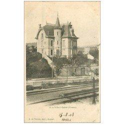 carte postale ancienne 23 GUERET. Villa et ligne du Chemin de Fer 1903. Edition Nussac