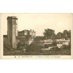 carte postale ancienne 24 BOURDEILLES. Donjon et Remparts du Château