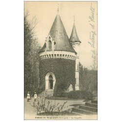 carte postale ancienne 24 CHATEAU DE VAUGOUBERT. La Chapelle et Enfants avec cerceaux 1924