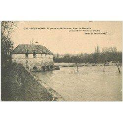 carte postale ancienne 25 BESANCON. Pigeonnier Militaire et Pont de Bregille. Crue de 1910