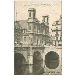 carte postale ancienne 25 BESANCON. Pont Battant et Eglise de la Madeleine 1905