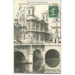 carte postale ancienne 25 BESANCON. Pont Battant et Eglise de la Madeleine 1909