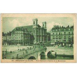 carte postale ancienne 25 BESANCON. Pont Battant et Eglise de la Madeleine 1944
