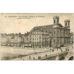 carte postale ancienne 25 BESANCON. Pont Battant et Eglise de la Madeleine. Quai Veil-Picard 1923