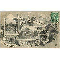 carte postale ancienne 03 VICHY. 1923 un Bonjour Multivues
