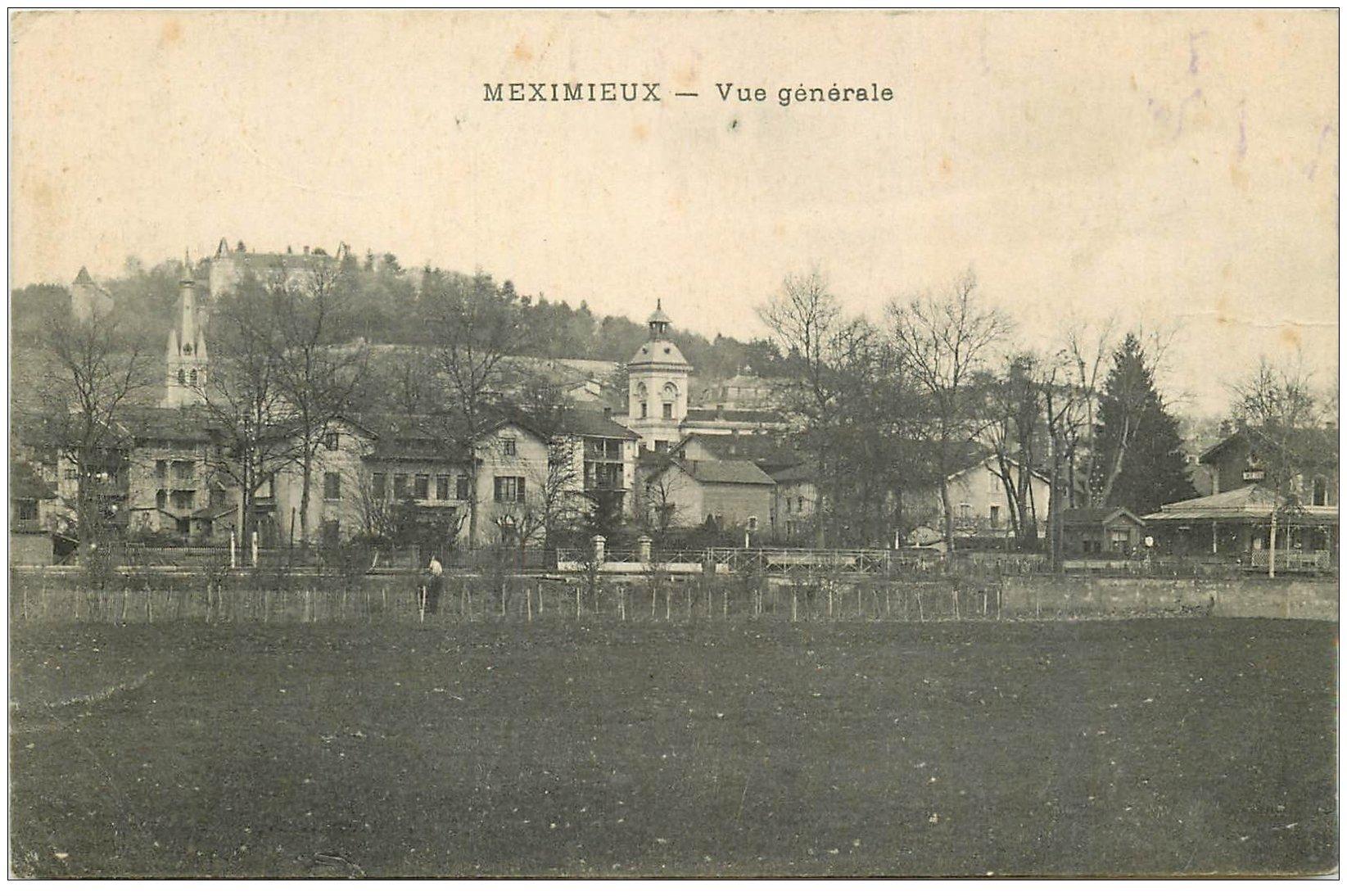 carte postale ancienne 01 MEXIMIEUX. Vue générale écrite vers 1914-18