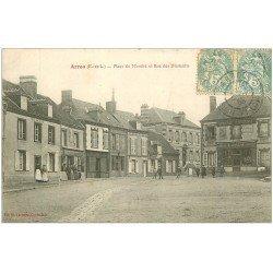 carte postale ancienne 28 ARROU. Place du Marché Rue des Diamants 1905. epicerie Parisienne
