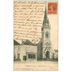 carte postale ancienne 28 AUNEAU. Eglise Saint-Etienne 1908. Graineterie
