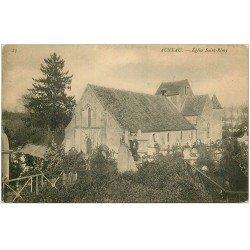 carte postale ancienne 28 AUNEAU. Eglise SAint-Rémy et Cimetière