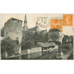 carte postale ancienne 28 BONNEVAL. Fossés Saint-Jacques 1923 Lavoir et pêcheurs en barque