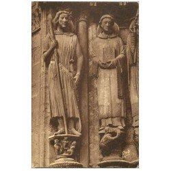 carte postale ancienne 28 CHARTRES. Cathédrale. Portail. Statues 1937