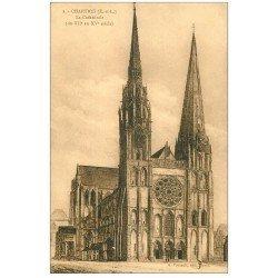 carte postale ancienne 28 CHARTRES. La Cathédrale 2