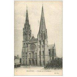 carte postale ancienne 28 CHARTRES. La Cathédrale Façade 8