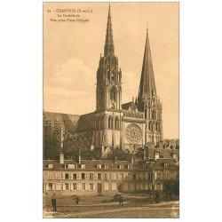 carte postale ancienne 28 CHARTRES. La Cathédrale Place Chatelet